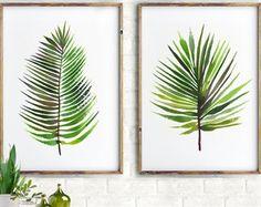 Acuarela de hoja de Palma decoración Tropical pintura por colorZen