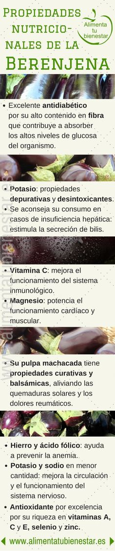 #infografia Propiedades nutricionales de las berenjenas #nutricion #salud #bienestar Nutrition Tips, Health And Nutrition, Health And Wellness, Health Fitness, Proper Nutrition, Vegetable Benefits, Juice Smoothie, Medicinal Herbs, Health And Beauty Tips