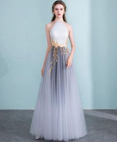 Gray gradient tulle long prom dress, gray evening dress on Storenvy Ombre Prom Dresses, A Line Prom Dresses, Formal Dresses, Long Dresses, Dress Long, Grey Prom Dress, Corset Dresses, Maxi Dresses, Bridesmaid Dresses