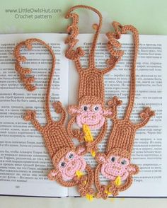 (4) Name: 'Crocheting : 029 Monkey bookmark amigurumi Zabelina