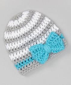 Another great find on #zulily! Gray & Teal Bow Beanie by Just For Baby With Love #zulilyfinds