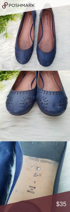 Corso como blue leather flats size 6 Introducing your new go-to flats. Crafted with luxurious Brazilian leather and styled with a curved toe line, a low heel, and of course the corso como fabulous comfort insole system. You'll never want to be without this shoe!  Preowned, very well cared for. Corso Como Shoes Flats & Loafers