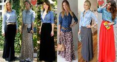 camisa jeans feminina com saia de paetê - Pesquisa Google