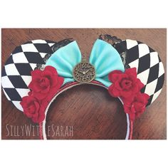 Alice In Wonderland INSPIRED Minnie Mouse Disney Ears Perfect+for+your+favorite+character+filled+theme+parks,+raves,+concerts,+conventions+and+more! All+Items+are+Hand+Made+by+myself,+and+they+are+all+made+to+order +Hand+made,+products+may+slightly+vary+from+product+to+product,+but+I+try+my+best+...