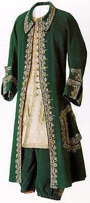 Ceremonial Attire of Peter I, 1710-1720  Frockcoat: green woollen cloth, gold thread, L 116 cm  Breeches: green woollen cloth, L 77 cm  Waistcoat: woollen silk and linen fabric, metal thread
