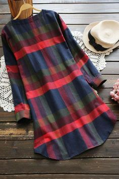 Plaid pattern, Holiday dress, Christmas Dress. 50%Polyester,50%Cotton