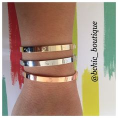 """3 Tone Bangle Bracelets Stunning 3 bangles in 3 tones (silver - rose gold - gold)   fits wrists up to 8"""" B Chic Jewelry Bracelets"""