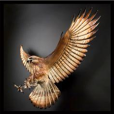 Attacking Hawk Wood Sculpture by Jason Tennant
