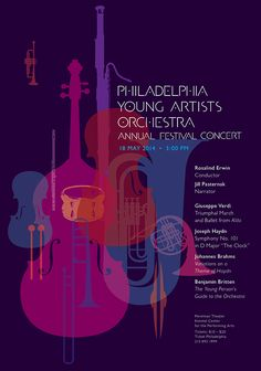 paone design associates : poster 2014 May – Philadelphia Young Artists Orchestra Annual Festival Concert since our founding in during the past 20 years, we are sincerely thankful for these opportunities. Flyer Inspiration, Poster Design Inspiration, Poster Ideas, Creative Poster Design, Creative Posters, Poster Designs, Design Posters, Poster Jazz, Graphic Design Illustration