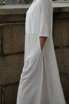 White Women Dress Linen Dress Long Dress Maxi by Modest Fashion, Boho Fashion, Fashion Design, Mode Style, Style Me, White Linen Dresses, White Dress, Estilo Hippie, Mode Vintage