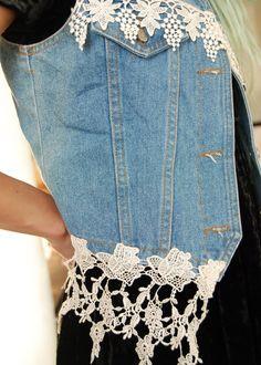 Vintage 90s Denim & Lace Vest