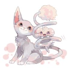 Glameow & Espurr by Mokunaminchan Pokemon Team, Pokemon Fan Art, Pokemon Fusion, Cat Pokemon, Pikachu, Pokemon Comics, Pokemon Stuff, Equipe Pokemon, Cute Pokemon Pictures
