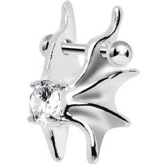 Silver 925 Clear CZ Silver 3D Gargoyle Wings Cartilage Barbell Cuff