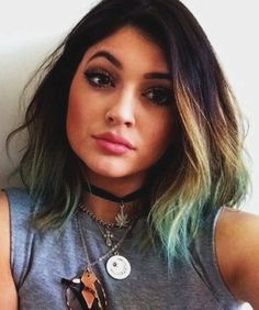 Kylie Jenner Green Hair Ombre