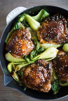 Paleo Teriyaki Chicken Thighs and Bok Choy