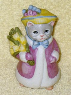 vintage kitty cucumber Easter parade figure by Catloversdream on Etsy