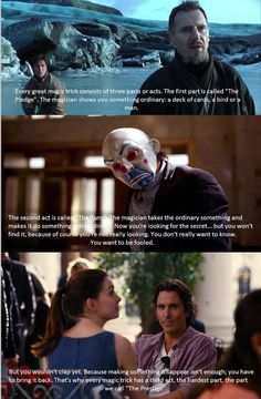 """Quote from """"the Prestige"""" applied to Christopher Nolan's Batman trilogy"""