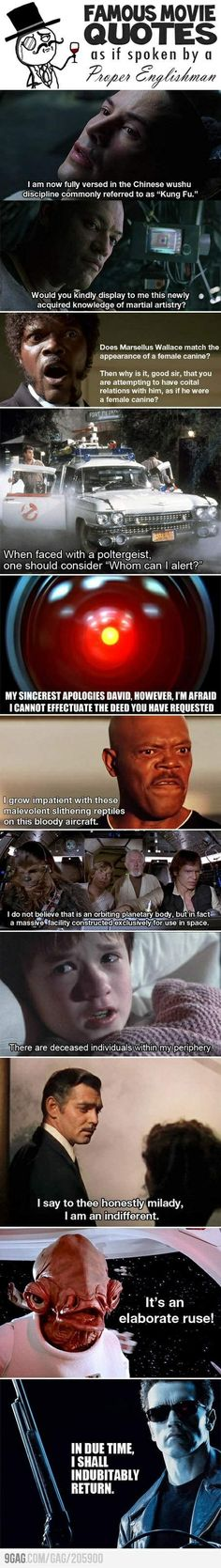 Famous Movie Quotes in Proper English