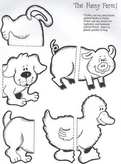 The funny farm puzzle match file folder game page 1 Folder Games For Toddlers, File Folder Activities, File Folder Games, File Folders, Library Activities, Animal Activities, Preschool Activities, Farm Animal Crafts, Farm Animals