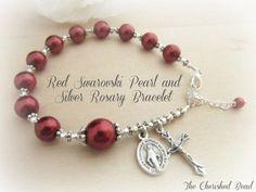 Beautiful Red Swarovski Pearl & Silver Rosary Bracelet