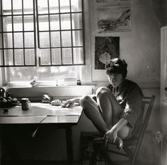 """Uncredited Photographer Painter Jay DeFeo in Her Studio, Fillmore Street, San Francisco 1960 """"Only by chancing the ridiculous, can I hope for the sublime."""" Jay DeFeo"""