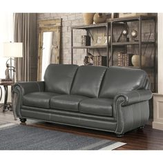 Shop for Marcus Premium Grey Top Grain Leather Sofa and Loveseat Set - 38 x 86 x 36 . Get free delivery On EVERYTHING* Overstock - Your Online Furniture Shop! Sofa And Loveseat Set, Grey Leather Sofa, Rolled Arm Sofa, Furniture, Best Sofa, Sofa Deals, Leather Chesterfield Sofa, Sofa Uk, Sofa Design