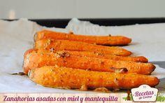 Zanahorias asadas a la miel -  La zanahoria es una hortaliza ligera y de fácil digestión tanto cruda como cocida. Un alimento muy saludable por su excelente contenido en beta-caroteno (provitamina A). Hoy en Recetas de cocina la preparamos asada envuelta en una suave capa de mantequilla y miel. Las zanahorias son una e... - http://www.lasrecetascocina.com/zanahorias-asadas-a-la-miel/