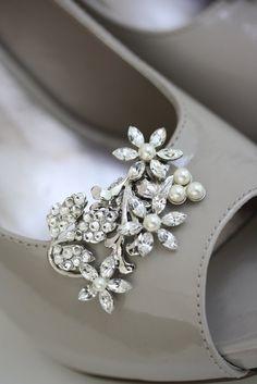 Wedding Shoe Clips Rhinestone Shoe Clips Ivory by LuluSplendor, $95.00