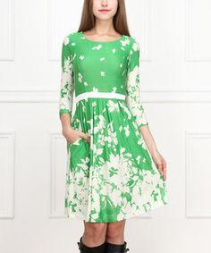 Look at this #zulilyfind! Green Floral Three-Quarter Sleeve Dress by Reborn Collection #zulilyfinds