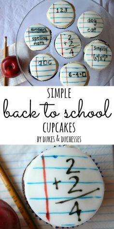 Simple back to school cupcakes made with storebought fondant and edible markers! Darling idea for cupcakes! Teacher Cupcakes, School Cupcakes, School Cake, School Treats, Back To School Party, School Parties, Cupcake Wars, Cupcake Cookies, Sugar Cookies