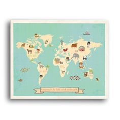 Children Inspire Design Global Compassion World Map Gallery Wrapped on Canvas Art