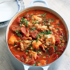 Spicy Portuguese fish stew with chorizo.