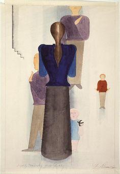 Oskar Schlemmer, Famille, avant 1926 - aquarelle et mine graphite sur papier - @centrepompidou