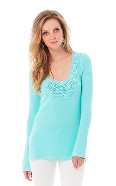 The Roberts crochet tunic sweater can be worn with white denim and wedges for an elevated everyday look or dressed down over a bikini for a walk on the beach. This blue crochet sweater is the ultimate beach sweater. So many ways to wear!
