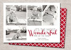 Photo Christmas Card Holiday 3 or 4 photo Collage by cardsetcetera