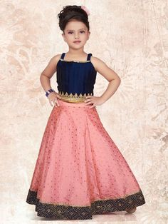 Navy And Pink Color Silk Lehenga Choli Kids Lehenga Choli, Pink Lehenga, Kids Lehanga, Anarkali, Indian Bridal Outfits, Indian Designer Outfits, Designer Dresses, Baby Girl Dresses, Girl Outfits