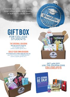 GradBin; The College Box is the subscription box by and for students across the United States. Enjoy surprises like snacks, games, supplies, and more!