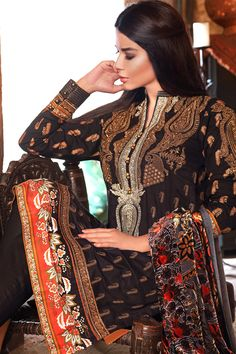 Silk Velvet Collection VL-19  Shop Now: https://www.gulahmedshop.com/products/black-silk-velvet-vl-19