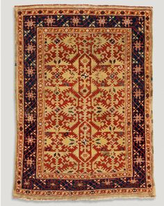 Lotto arabesque rug, Ushak, west Anatolia, Ottoman period, early 17th century. Wool, knotted-pile, 116 x 162 cm.