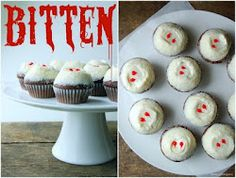 Vampire Party Ideas... I like the bitten sign over the cupcakes.