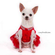 Dog Tutu Dresses Christmas Sexy Hand Crochet Teacup Chihuahua