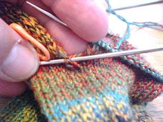 Here we are at last - the sock trick, or, how to avoid holes! This is for a sock using the standard heel flap construction, worked from the. Knitting Help, Knitting Videos, Knitting Stitches, Knitting Socks, Knitting Projects, Hand Knitting, Knitting Patterns, Crochet Patterns, Knitting Tutorials