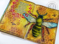 I Googled images of bees and printed out this line art, approximately 7 inches wide. I only have an inkjet printer, so after printing it on regular inkjet paper, I sprayed it with an even coat of Workable Fixative. I wasn't sure if this would work or not, so I just gave it a try. Once dry, I blended Distress Inks in different areas of the bee. The fixative kept the bee print from bleeding.