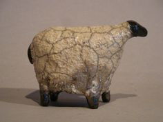 Raku Ceramic Sheep Handmade Sculpture Animal Small Grey and Black Sheep Fun to Collect via Etsy