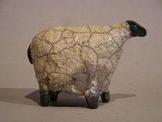 Raku Ceramic Sheep Handmade Sculpture Animal Small Grey and Black Sheep Fun to Collect via Etsy