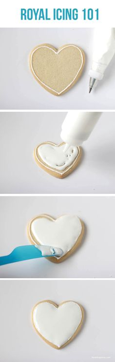 """Icing Royal icing 101 on .learn the basics to creating """"fancy"""" cookies!Royal icing 101 on .learn the basics to creating """"fancy"""" cookies! Fancy Cookies, Iced Cookies, Cupcake Cookies, Sugar Cookies, Cookies Et Biscuits, Baking Cookies, Heart Cookies, Baking Cupcakes, Sugar Cake"""