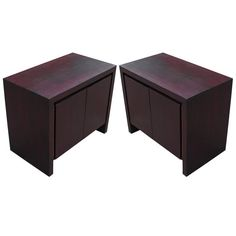 Wonderful Pair of Clean Lined Purple Stained Chests or Nightstands   From a unique collection of antique and modern night stands at https://www.1stdibs.com/furniture/tables/night-stands/