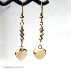 Gold Heart Earrings for Women Swarovski by beadloverskorner