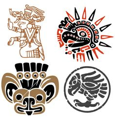 Aztec design set vector 27309 - by gepecto on VectorStock®
