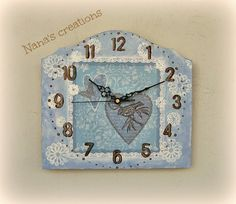 Shabby Chic wooden clock for the wall Wooden Clock, Shabby Chic, Clocks, Wall, Handmade, Home Decor, Hand Made, Decoration Home